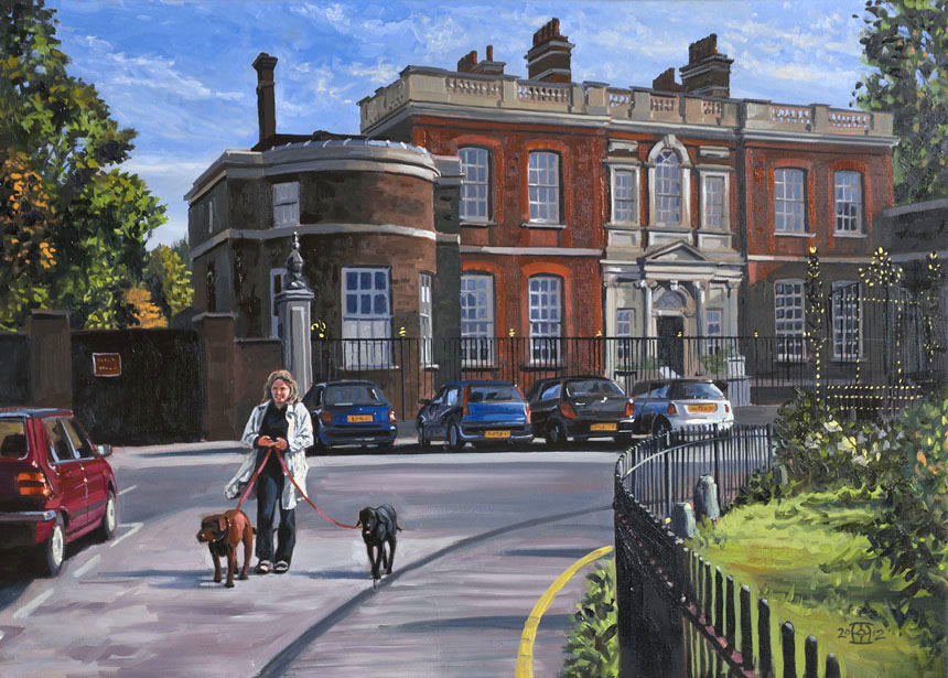 Blackheath, Rangers House, dogs, London, painting, oils