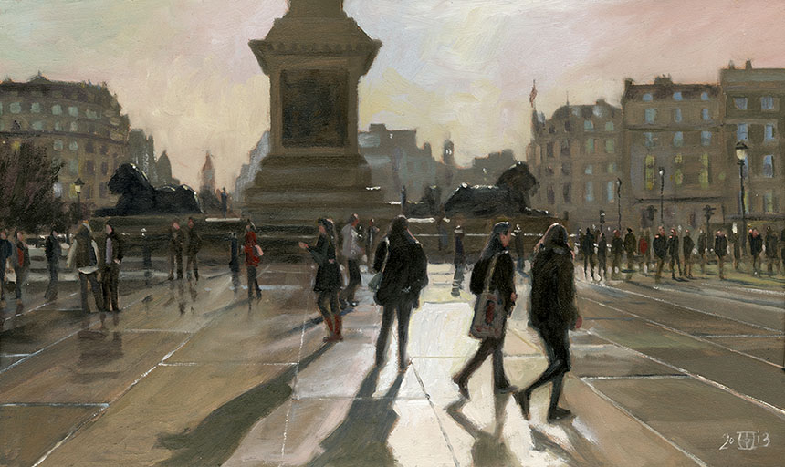 trafalgar square, london, sun, contre jour, oil painting
