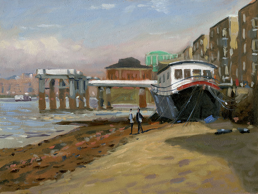 Rotherhithe, London, thames, oil painting, plein air
