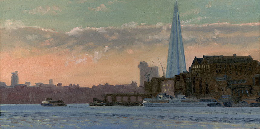 Rotherhithe, shard, London, thames, river, plein air