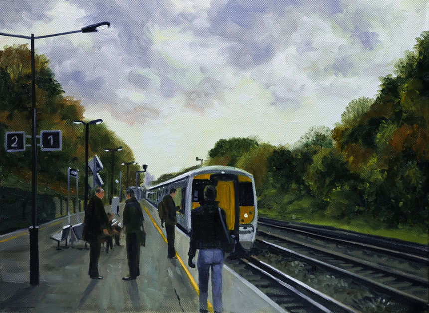 station, rail, train, morning, St Johns, London, Painting