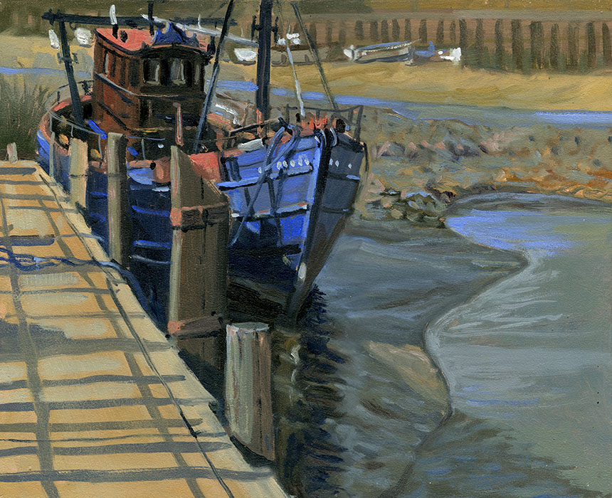 Faversham, kent, creek, fishing boat, mud, plein air