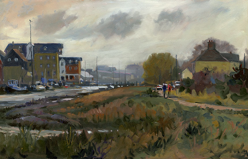 Faversham Creek, plein air, kent, oil painting