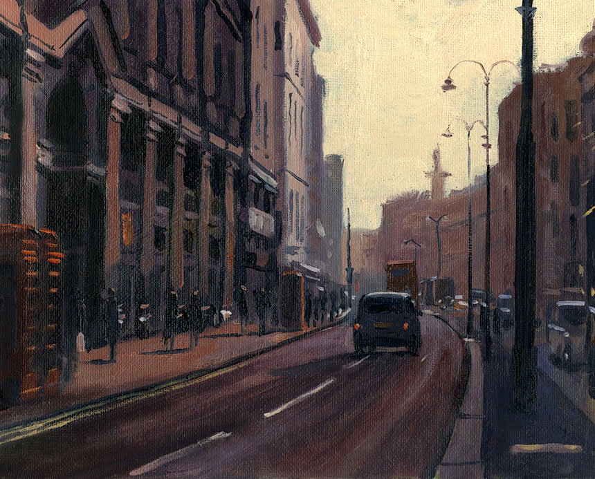 The Strand, London, plein air, oil painting, urban, street