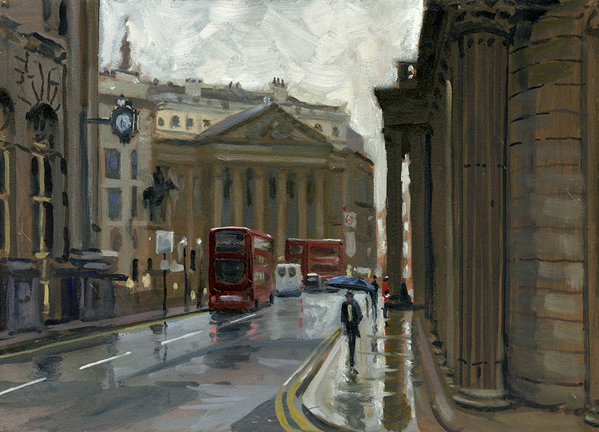 Mansion House, London, City, plein air,oil painting