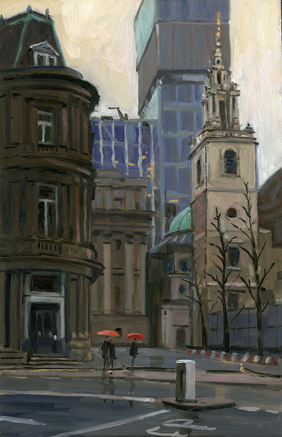 St Steven Walbrook, London, city, rain, plein air, oil painting