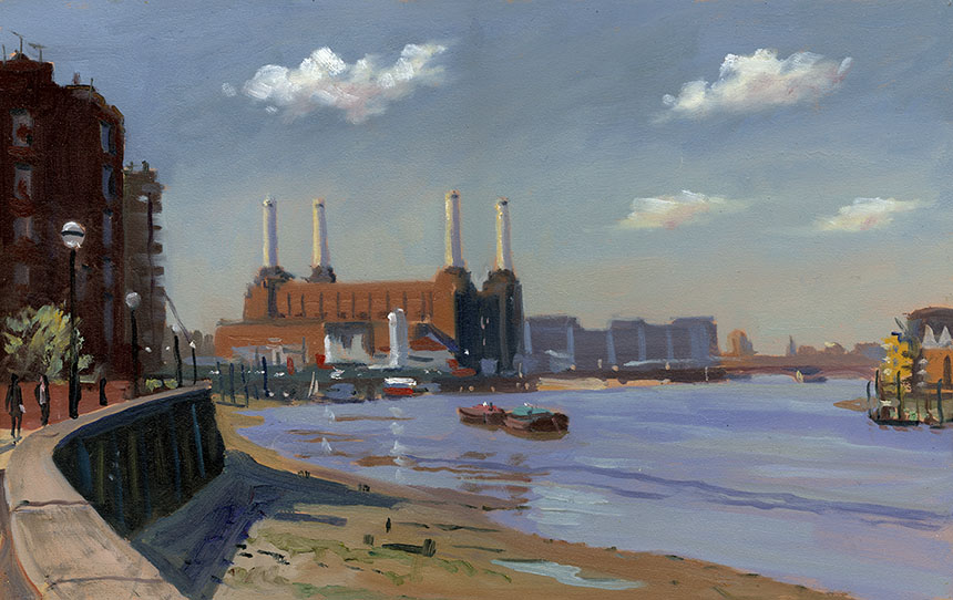 Thames, Battersea, powerstation, river, plein air, oils