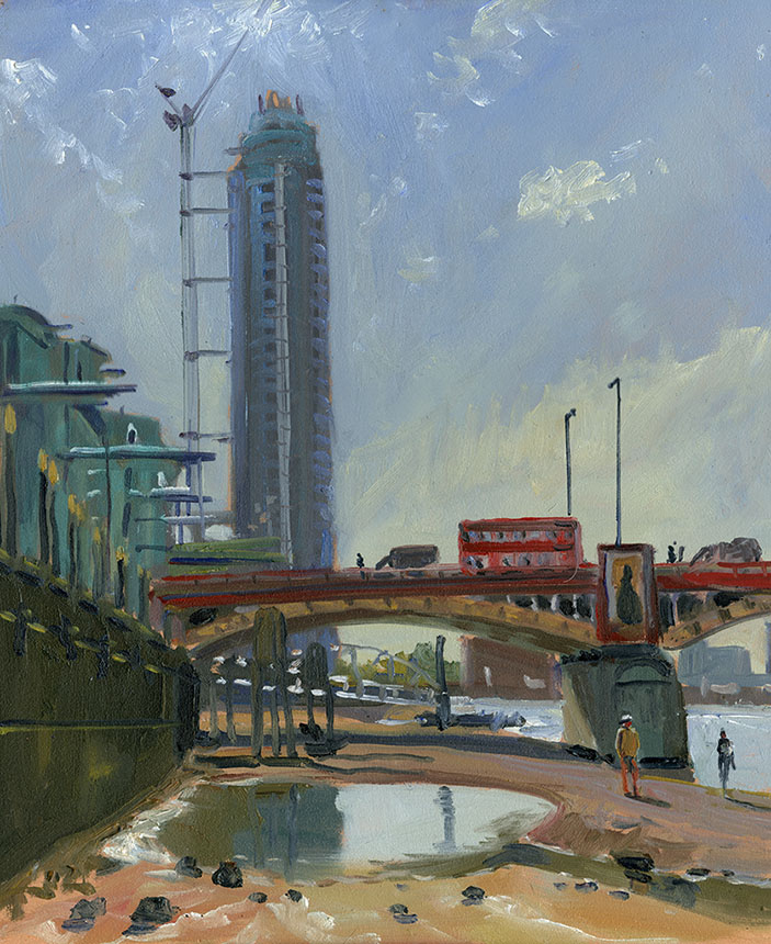 Vauxhall Bridge, London, thames, plein air, Wapping group