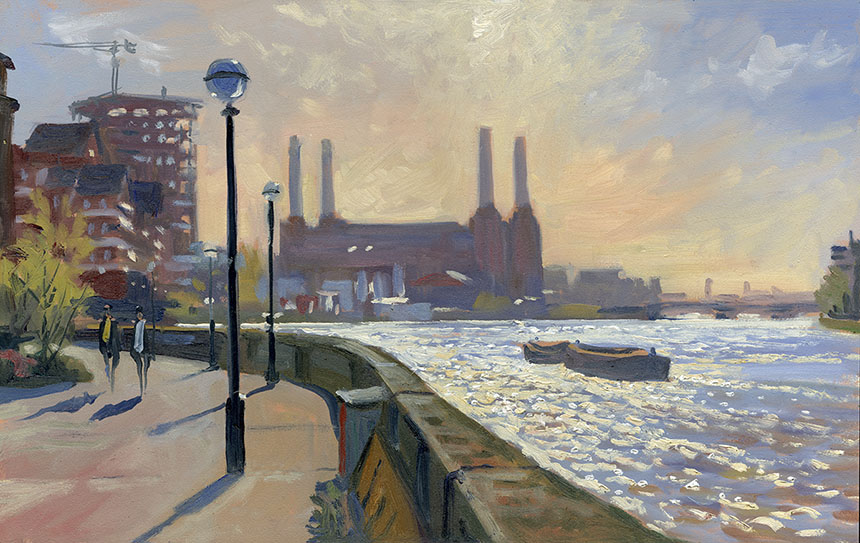 battersea, Thames, river, powerstation, plein air, wapping group