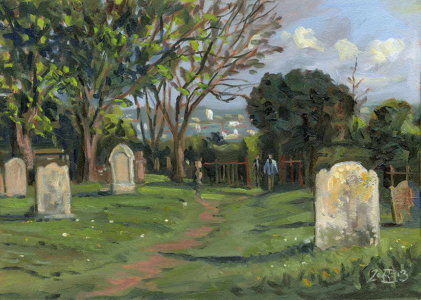 All Saints Findsbury, Graveyard, plein air