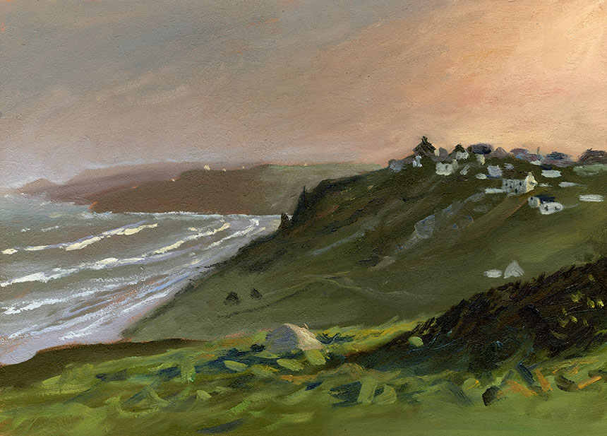 Sennen, Cornwall, dawn, plein air, oil painting