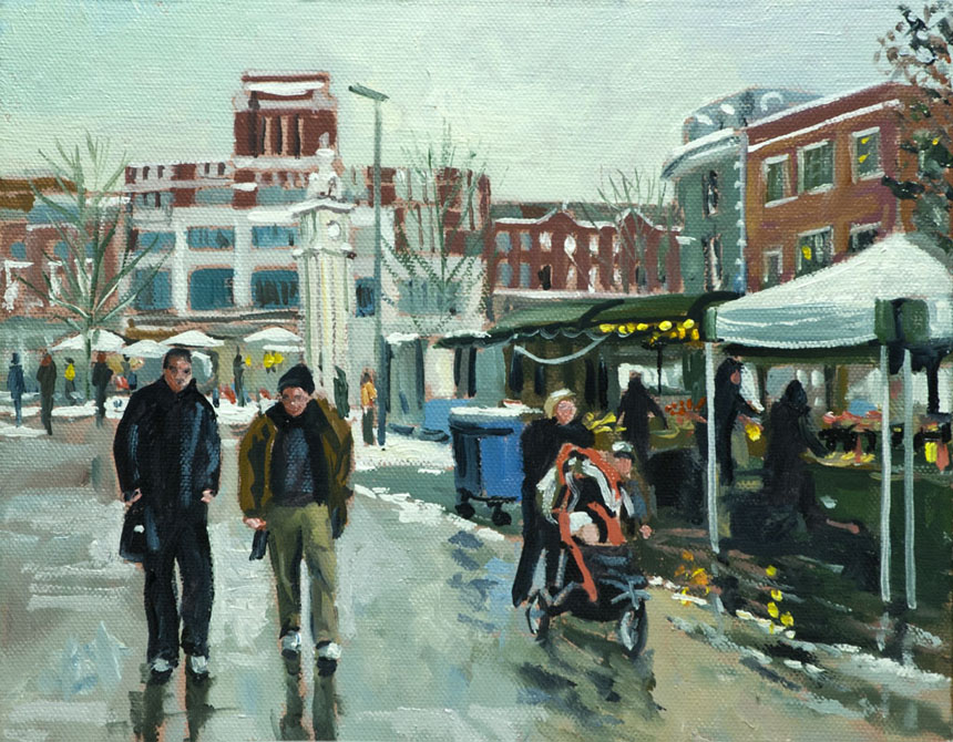 Lewisham, Market, Winter, Plein air, painting, London