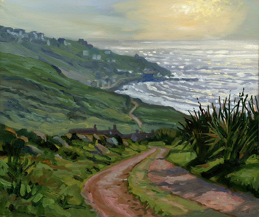 sennen cove, cornwall, oil painting, plein air