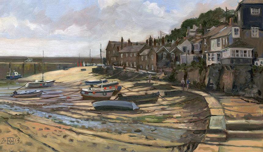 Mousehole, cornwall, oil painting, plein air, harbour, boats, fishing