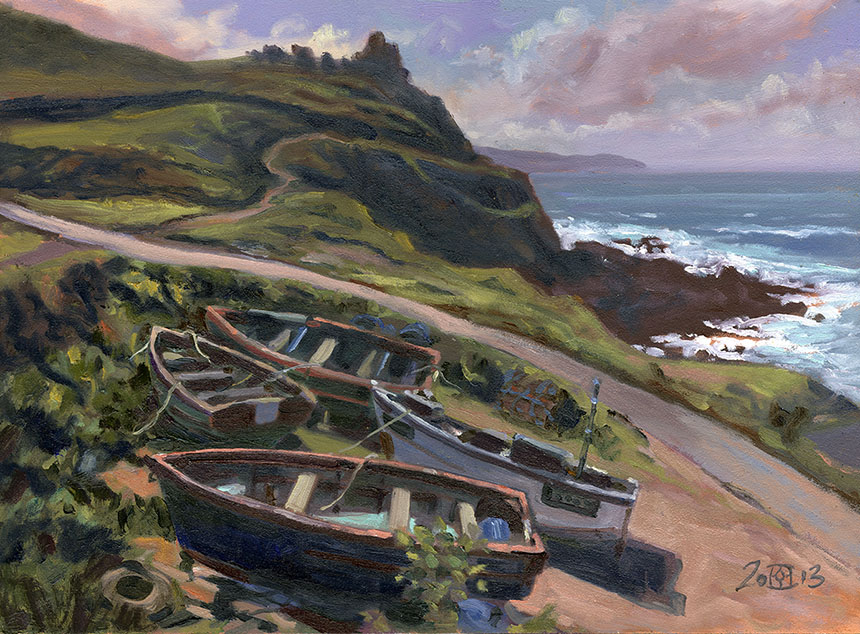 Cape Cornwall, boats, plein air, oil painting