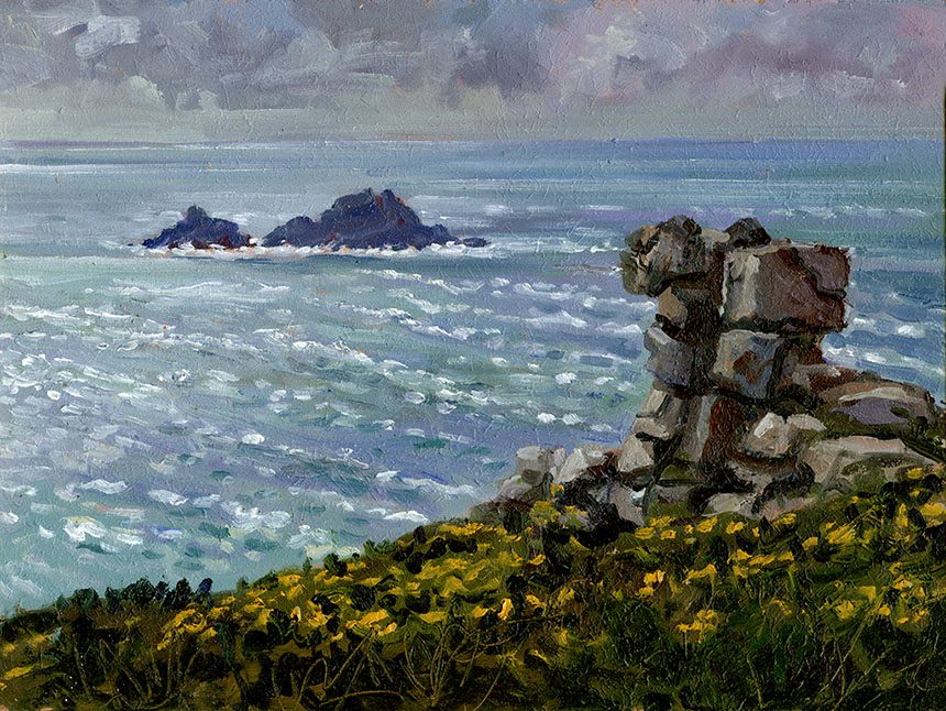 The Brisons, Cape Cornwall, oil painting, plein air