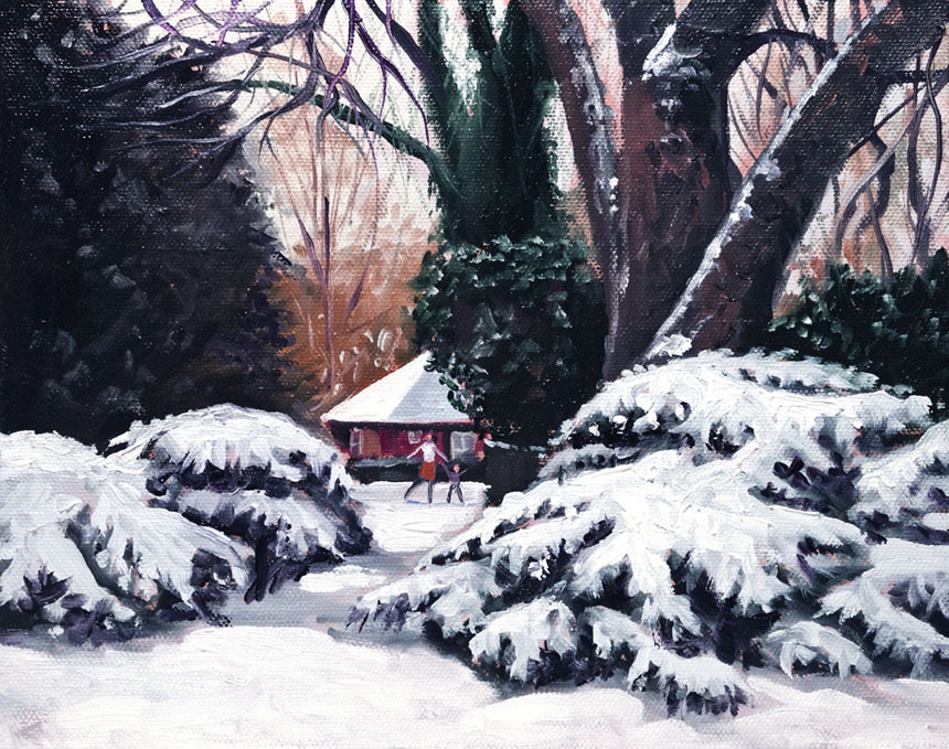 Snow, Deptford, St Johns, Painting, park, plein air.