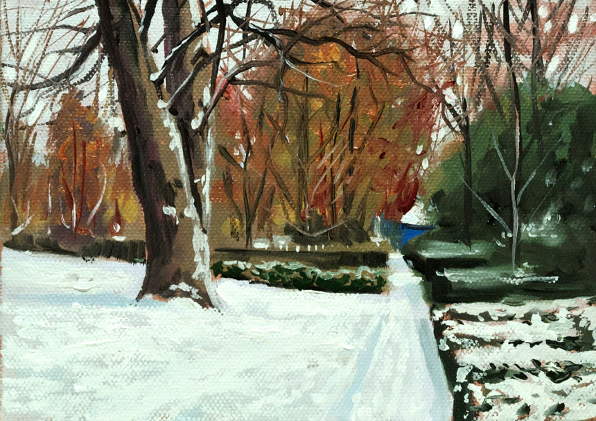 Snow, London, park, painting, deptford, plein air