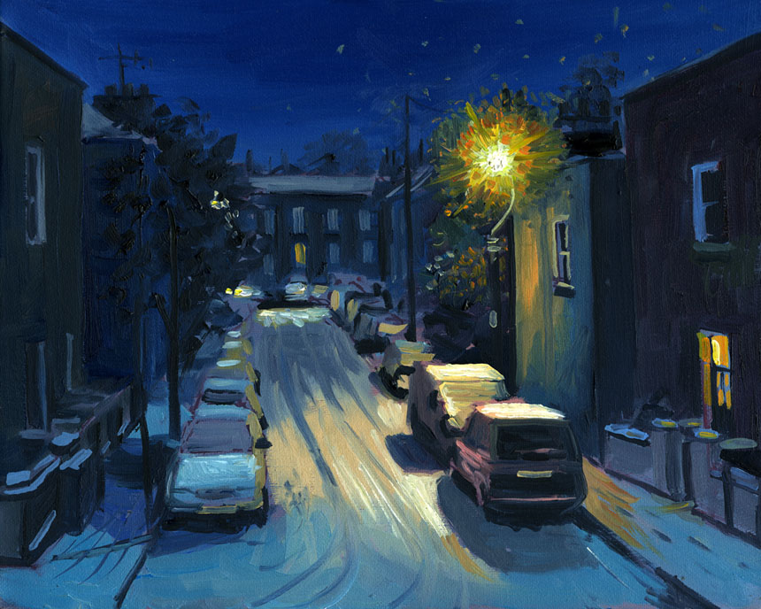 London, Snow, plein, air, oil, painting