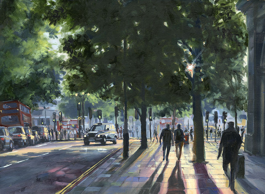 Northumberland Avenue, London, Oil painting, city, urban