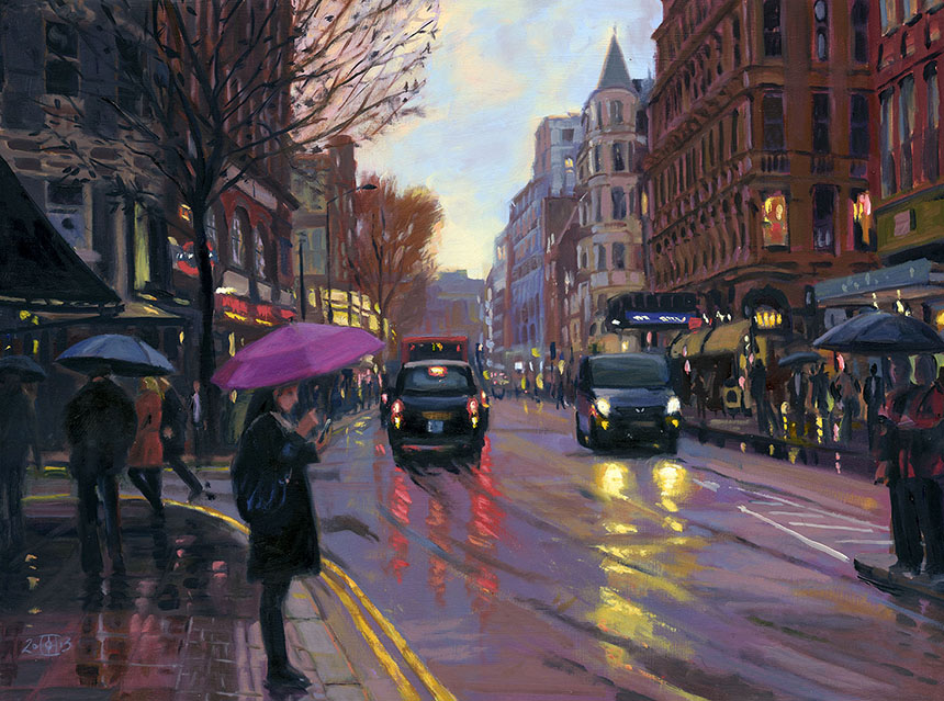 Charing Cross Road, Rain, London, oil painting, urban, City