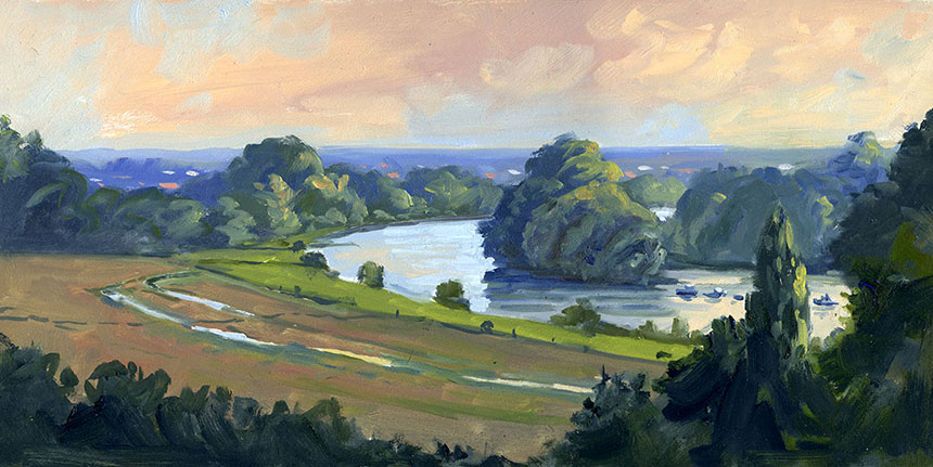 Richmond Hill, Thames, plein air, oils
