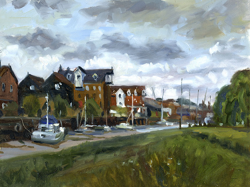 Faversham, Kent, plein air oil painting