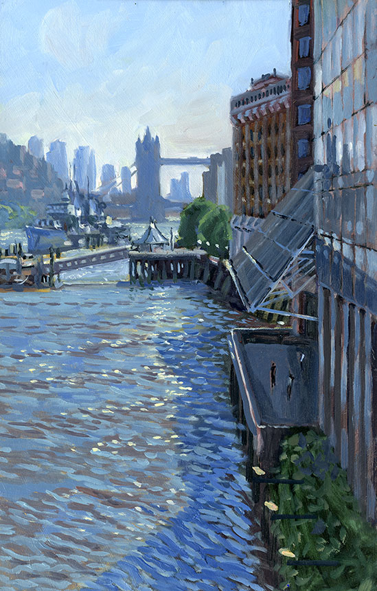 Tower Bridge, London, Thames, HMS Belfast, oil painting, Wapping Group