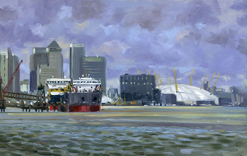 Bugsbys Reach, London, Thames, O2 Dome, Plein air