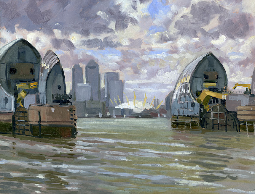 Thames Barrier, London, plein air, oil painting