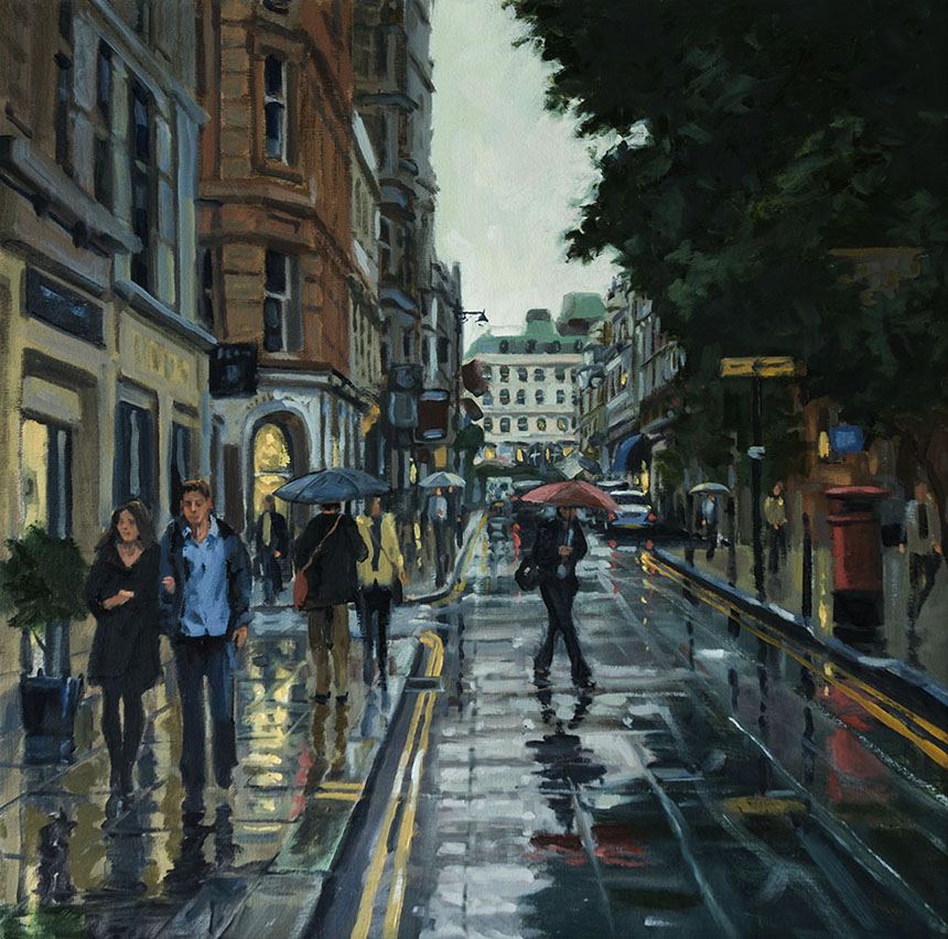 Jermyn St, Mayfair, London, Oil painting, rain