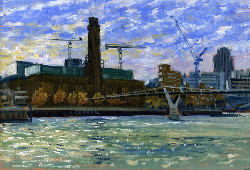 Bankside, winter, Thames, London, painting, plein air, river