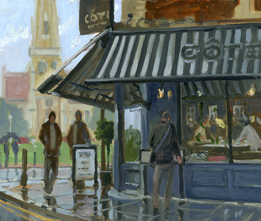 Blackheath, cafe, plein air, london, oil painting