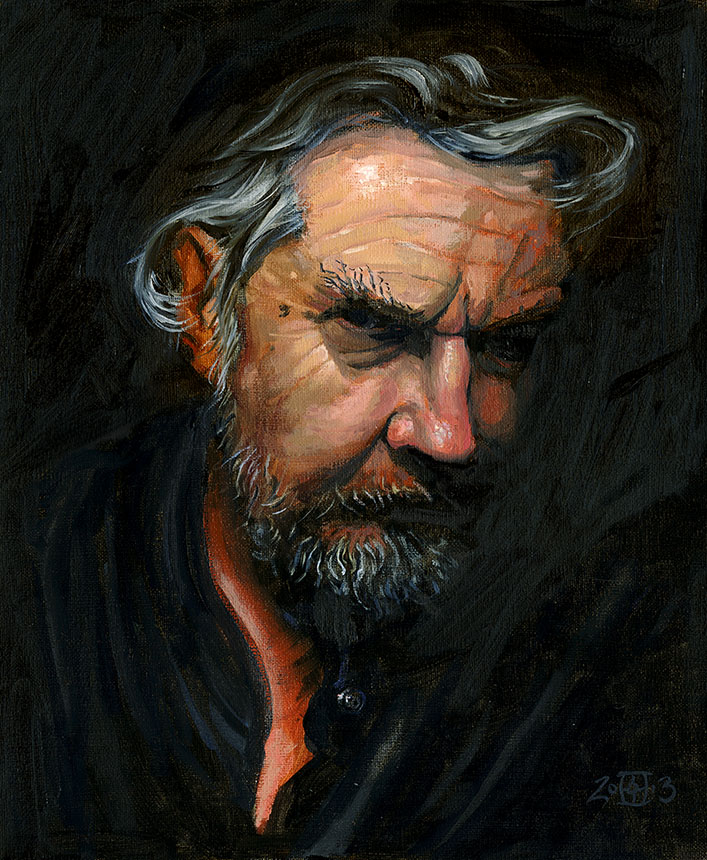 Self portrait, Rob Adams, oil painting
