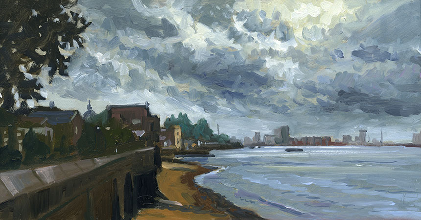 Greenwich, Thames, plein air, river, oil painting
