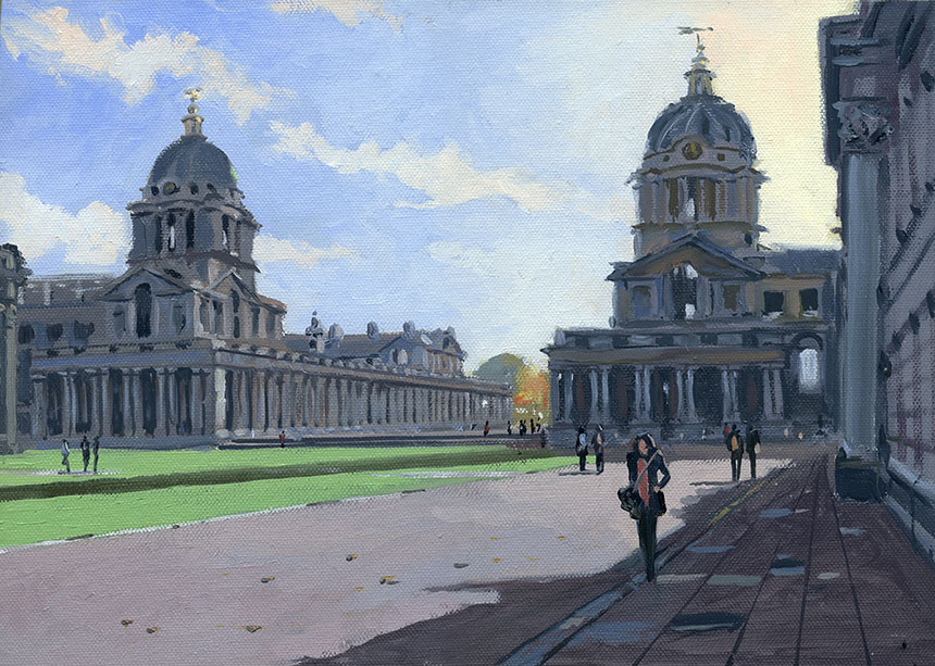 Greenwich, London, Naval Hospital, plein air, painting