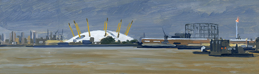Greenwich, Millenium Dome, Thames, plein air.