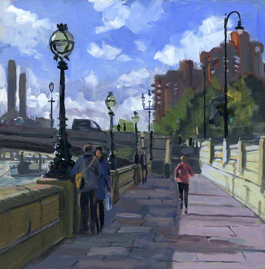 Thames, london, river, battersea bridge, plein air, painting