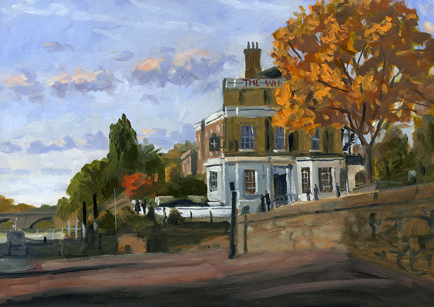 Richmond, Thames, The White Cross, plein air, oil painting