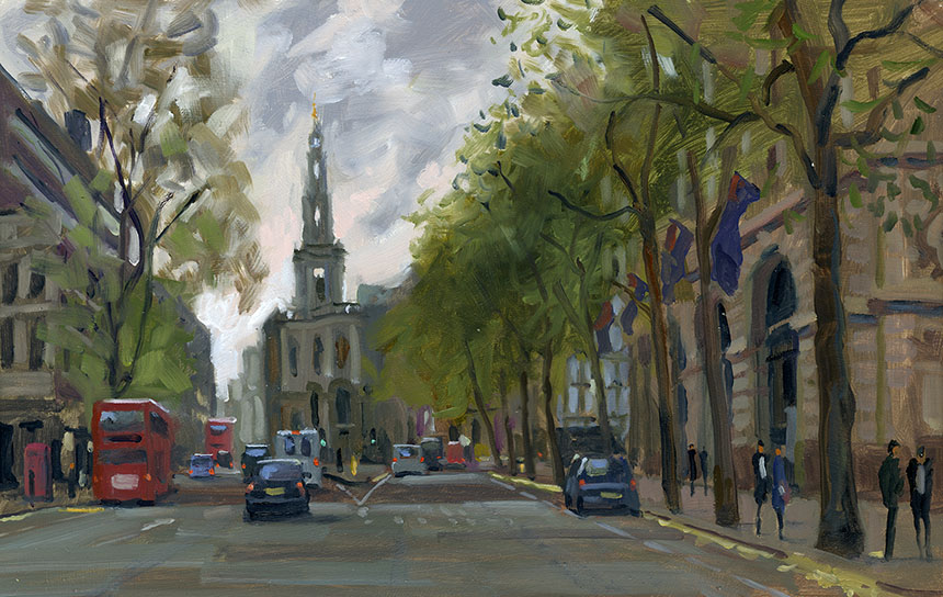 Mary le Strand, London, oil painting, plein air
