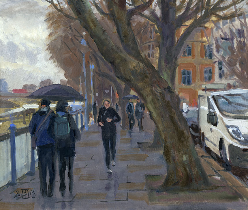 Putney, plein air, Brass Monkeys, oil painting, London