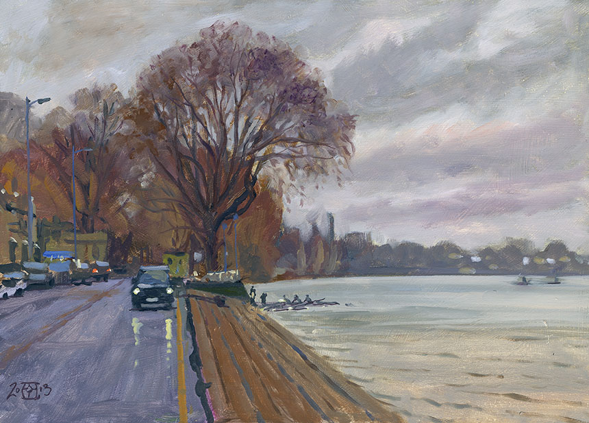 Putney, Thames, River, London, Plein air, oil painting
