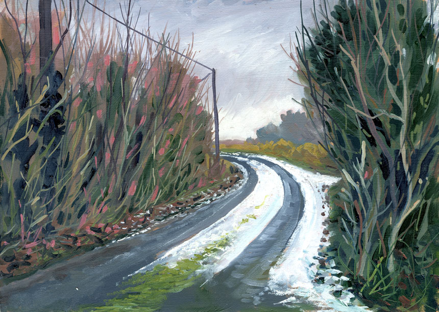 Ireland, road, frost, Clare, Eire, oil, plein air