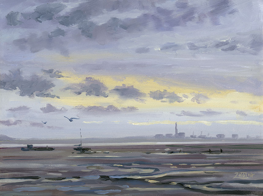Leigh on sea, Essex, Brass Monkeys, oil painting
