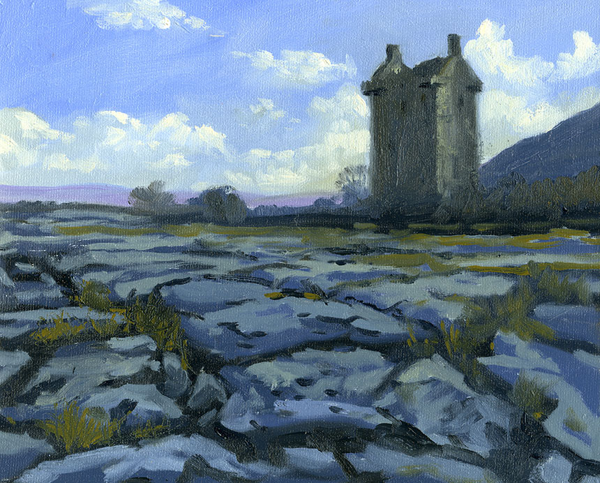 Gleninagh, Castle, Burren, Ireland, Plein air, oils
