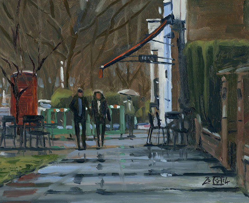 Dulwich Village, London, plein air, oil painting