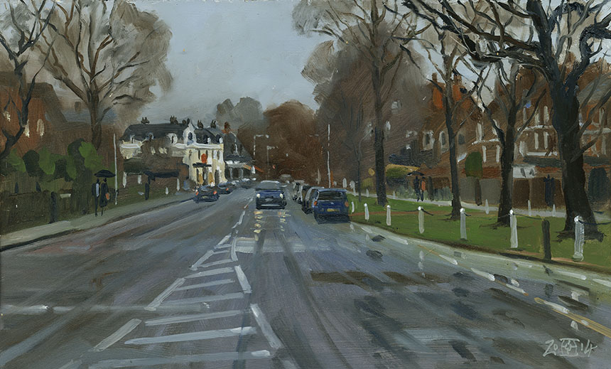 Dulwich Village, london, rain, plein air, oil painting
