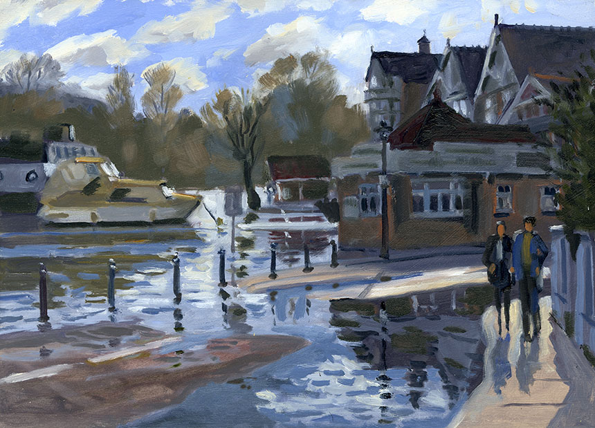 henley on Thames, Thames, flood, river, plein air, oil painting