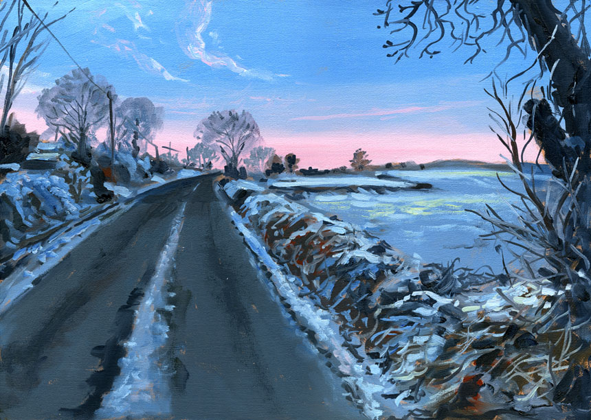 Ireland, Eire, Co Clare, road, painting, oil, plein air.