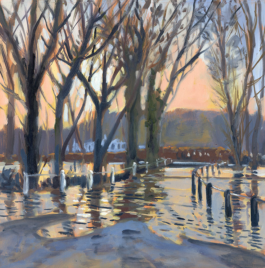 Thames Henley, river flood, oil painting